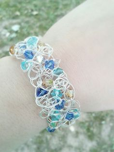 Wire crochet swarovski bracelet. www.facebook.com/LuluBijouxBoutique