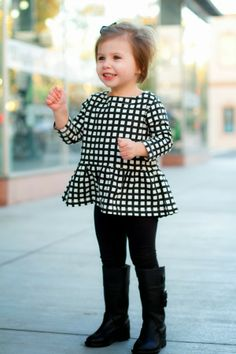 Little girl black & white Crewcuts, Zara boots, our happiness tour