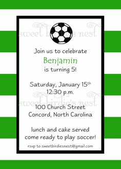 Soccer Birthday Invitation.