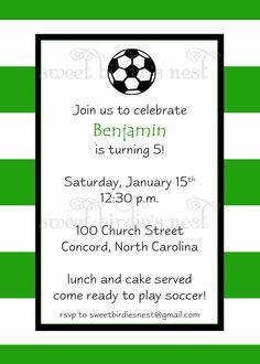 Soccer Birthday Invitation.