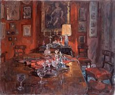 red-dining-room-with-decanters. susan ryder