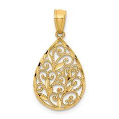 Mia Diamonds 925 Sterling Silver with 9k Gold Accent AM Teardrop Criss Cross Slide Pendant