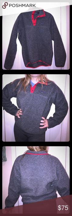 Vintage Patagonia Pullover Vintage Patagonia pullover gray with red accents. Size medium but fits large. Patagonia Jackets & Coats