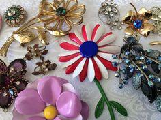 Huge Lot Figural Pins Earrings Flowers Enamel Rhinestone Heart Bird Bouquet VGC