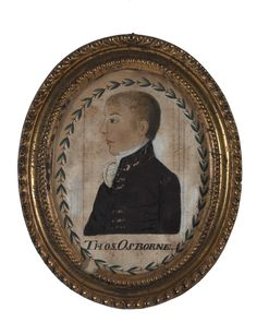 OVAL PORTRAIT SILHOUETTE OF MIDSHIPMAN THOMAS OSBOURNE, CIRCA 1810.  Watercolor and oil on paper, 6 x 4 ½ inches, sight. In original period frame.