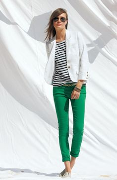 summer outfits womens fashion clothes style apparel clothing closet ideas white blazer green jeans sunglasses