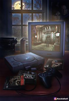 "Game art 639933428285000727 - ""Wakka Wakka Wakka"": Amazing Nostalgic Video Game Artworks By Rachid Lotf Source by froeligerchristophe Retro Video Games, Video Game Art, Retro Games, Mundo Dos Games, Digital Foto, Evil Games, Resident Evil Game, Gamer Room, Gaming Wallpapers"