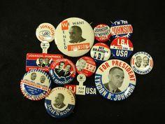 LBJ campaign buttons.
