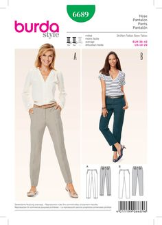 Burda 6689 Women's Pants sewing pattern