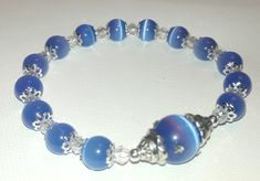 Cats Eye Swarovski Crystal Bracelet for Her, Blue Beaded Silver Accent Trendy Fashion Bracelet for Tweens Teens or Women, Gifts under 15 by Willows3Creations on Etsy