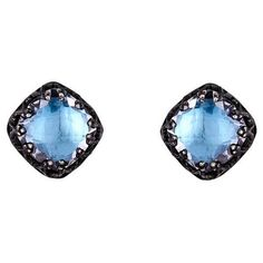 Small Jane Post Earrings - Sky Blue ($500) ❤ liked on Polyvore featuring jewelry, earrings, blue, blue earrings, blue jewelry, stud earrings, post earrings and blue sky jewelry