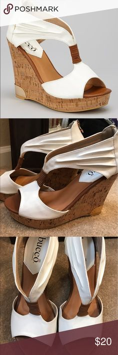 "Bucco White Auden Wedge Sandal Faux leather finish, gold detail. Back zipper closure. 4.5"" heel with 1"" platform. bucco Shoes Heels"
