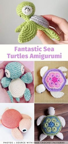 Fantastic Sea Turtles Amigurumi Free Patterns Today's mini collection of patterns for Fantastic Sea Turtles Amigurumi will take you on a trip to magical underwater worlds and heavenly beaches. This is where the fascinating. Crochet Turtle Pattern, Crochet Bee, Crochet Animal Patterns, Crochet Bunny, Crochet Patterns Amigurumi, Cute Crochet, Crochet Crafts, Yarn Crafts, Crochet Hooks
