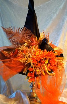 Lolo's Harvest Witch Hat by Marcellefinery on Etsy Halloween Witch Hat, Halloween 2017, Holidays Halloween, Happy Halloween, Halloween Decorations, Witch Hats, Halloween Headband, Halloween Wreaths, Witch Costumes