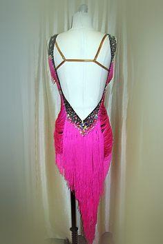 Neon pink fringe latin dance dress