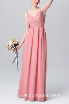 b7f41b12a18 English Rose Chiffon Curved V Neck with Shoulder Straps A-line Long Bridesmaid  Dress
