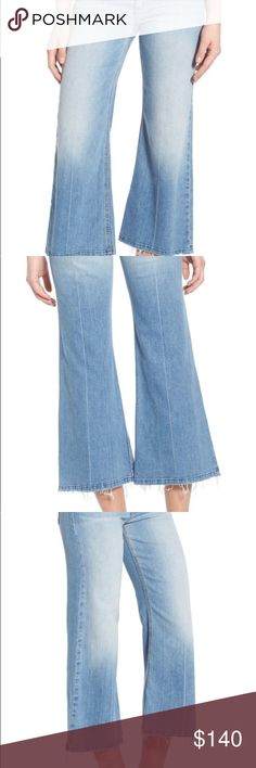 Joes icon gaucho jeans The Icon Gaucho in Jan is a medium light denim featuring stone washing, shadow whiskers, grinding, local pp spray, and hand sanding details. This mid rise jean is easy through the hips opening to a wide leg with a released hem and center crease line. Women's Jeans, Womens Festival Style Guide 98% COTTON, 2% SPANDEX.  Worn once Joe's Jeans Jeans Ankle & Cropped