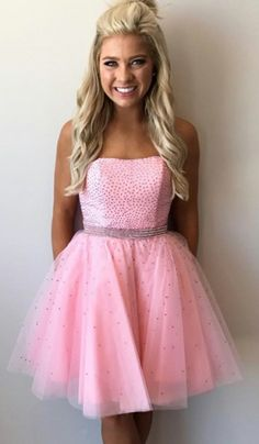 New Arrival Short Pink Tulle Homecoming Dresses