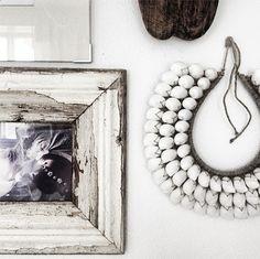 Old wooden frames. Shell necklace from www.lovewarriors.se. @Jenny Hjalmarson Boldsen