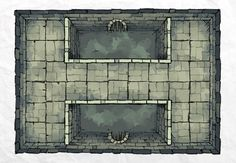 The DUNGEON POOL, a FREE battle map for D&D / Dungeons & Dragons, Pathfinder, Warhammer and other table top RPGs. Tags: basement, dungeon, geomorph, tile, tiles, tileset, underground, pool, bridge, sewer, water