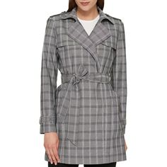 Tommy Hilfiger Women's Plaid Self-Tie Trench Coat ($135) ❤ liked on Polyvore featuring outerwear, coats, grey mult, trench coats, gray trench coat, plaid trench coat, tommy hilfiger and gray coat