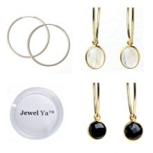 Hoop Earring & Bezel Set Drop Set $58 www.jewelya.com