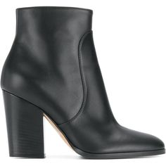 Sergio Rossi Jodie ankle boots ($1,080) ❤ liked on Polyvore featuring shoes, boots, ankle booties, black, black leather ankle booties, black ankle booties, black ankle boots, black booties and black leather boots