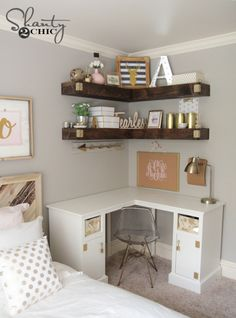 Bedroom Ideas:  DIY Cheap and Simple Floating Shelves - LOVE this idea! DIY Floating Corner Shelves - Shanty 2 Chic