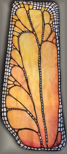 Hand painted silk scarf - Butterfly wing- butterfly scarves- chiffon scarf