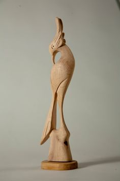 Wood Art Sculpture  Hand Carved Peafowl by Allegro by AllegroDecor, $85.00