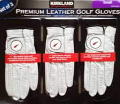 Kirland Signature Premium Cabretta Leather Golf Gloves - Set of 3 (Small) by Kirkland Signature. $23.40. You will love the feel of these gloves the first time they touch your hand.  Soft, Premium Cabretta Leather gives exceptional grip and resists moisture.  It will stay soft year round and is engineered with a closure tab to provide extreme comfort and a perfect fit.  Add these to your game today!