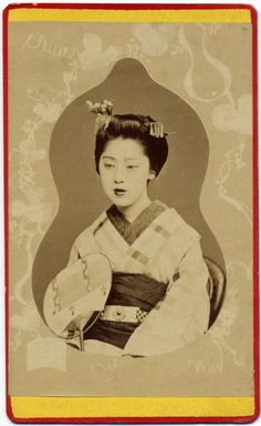 Photograph of maiko in kimono with uchiwa. In Kyoto. Uchiwa: Uchiwa is a tool to make a wind by fanning it. Kanzashi: Kanzashi are hair ornaments used in traditional Japanese hairstyles. Date : c.1870s. | eBay!