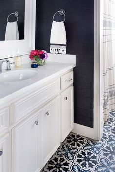 Image result for navy and white bathroom