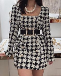 Style:Fashion Pattern Type:Houndstooth Material:Polyester Neckline:Square Neck Sleeve Style:Long Sleeve Length:Mini Occasion:Casual Package Belt) Note: There might be di. Cute Casual Outfits, Pretty Outfits, Chic Outfits, Kpop Fashion, Runway Fashion, Womens Fashion, Petite Fashion, Curvy Fashion, Fall Fashion