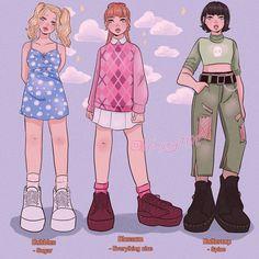 Indie Drawings, Cute Drawings, Fashion Design Drawings, Fashion Sketches, Powerpuff Girls, Super Nana, Cute Girl Drawing, Cute Art Styles, Drawing Clothes
