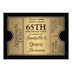 Golden Ticket Style 65th Wedding Anniversary Party Custom Announcements 50th Invitations