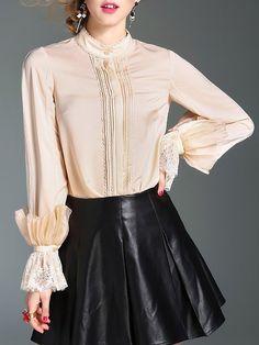 Shop Blouses - Elegant Silk Paneled Frill Sleeve H-line Blouse online. Discover unique designers fashion at StyleWe.com.