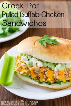 Crock Pot Pulled Buffalo Chicken Sandwiches - So easy, versatile, and tasty, this is one of my favorite chicken recipes, perfect for feeding my family on busy weeknight or a serving a crowd on the weekend! Lunch Recipes, Dinner Recipes, Sandwich Recipes, Turkey Recipes, Meal Recipes, Cheese Recipes, Dinner Ideas, Sandwich Ideas, Lunch Ideas