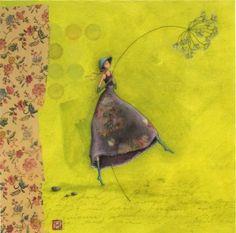 Une petite nouvelle, qui devrait paraître bientôt... Elle est née à d'une toile, ou plutôt la toile a été faite pour la carte... Celle ci est actuellement exposée et en vente à L'Atelier du Coin, à Saint Etienne, au profit de l'association...