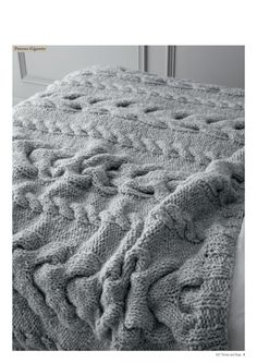 chunky grey knit cable throw by Patons Australia