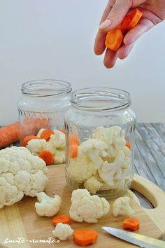 Conopidă murată pentru iarnă Thing 1, Canning Recipes, Gluten Free Recipes, Preserves, Free Food, Broccoli, Cauliflower, Carrots, Good Food
