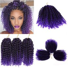2019 New Freetress Jamaican Bounce Marlybob Kinky Curly Marley Bob Hair Extensions 8Inch Havana Mambo Twist Ombre Grey Crochet For Black Women From Brennashair, $7.04 | DHgate.Com Curly Twist Hair, Curly Braids, Short Braids, Braids With Weave, Kinky Curly Hair, Braid Hair, Crochet Braids Marley Hair, Crochet Braids Hairstyles, African Braids Hairstyles