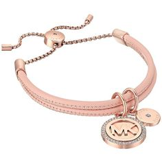 Michael Kors Micro Muse Leather Slider Bracelet (Rose Gold) Bracelet ($85) ❤ liked on Polyvore featuring jewelry, bracelets, rose gold jewellery, rose gold jewelry, rose charm, rose gold charms and michael kors bangles