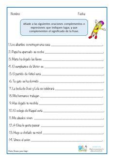 Los complementos o expresiones de lugar son los que indican la localización o la posición en la que se realiza la acción del verbo. Estos Elementary Spanish, Spanish Class, Spanish Lessons, Spanish Language Learning, Reading Comprehension, Infographic, Homeschool, It Cast, Classroom