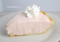 "Pink Lemonade Pie  1 9"" baked pie crust-pastry or graham cracker  8oz cream cheese, softened  1 14oz can sweetened condensed milk  6oz frozen pink lemonade concentrate, thawed (I used half of a 12oz can)  4oz Cool Whip  Few drops red food coloring (optional)  Beat cream cheese till fluffy. Gradually beat in sweetened condensed milk, then lemonade. Mix well. Fold in Cool Whip and food coloring. Pour into pie crust. Chill for at least four hours or till set. Garnish with whipped cream if…"