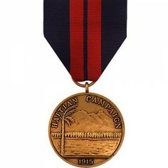 The First Haitian Campaign Medal - Marine Corps is a decoration presented by the U.S. Navy to recognize members of the Navy and Marine Corps who participated in naval peacekeeping operations in Haiti between the dates of July 9, - December 6, 1915 while serving for the United States fleet of Rear Admiral William B. Caperton.