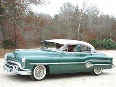 1953 Oldsmobile 98 Sedan Mine was white over red, a real Hydromatic tranny & noisey lifters.