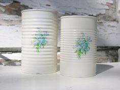 Shabby Chic Tin Cans Painted Creamy White with Blue Forget-Me-Nots Decal, Upcycled Recycled Repurposed