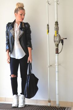 MY kind of look!!...Leather jacket, white shirt, ripped jeans and wedge sneakers! Owww!