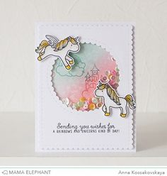 Mama Elephant Stamp Highlight: Unicorns and Rainbows @akossakovskaya #cardmaking #mamaelephant